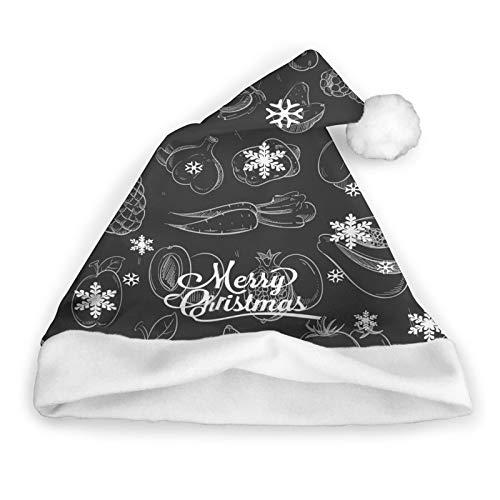 ZVEZVI Frutas de Verduras Blancas Doodle aisladas en Frutas Comida y Bebida Sombrero de Santa, Unisex, Adornos de Piel Blanca, Sombrero de Navidad de Calidad, Sombrero de Santa Claus