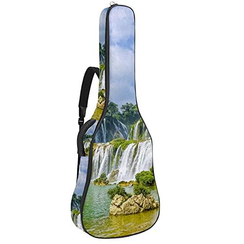 Paquete de guitarra acústica para principiantes, tamaño completo, con tapa de abeto, para guitarra acústica, naturaleza, cascada, paisajes, 108,9 x 42,8 x 11,9 cm