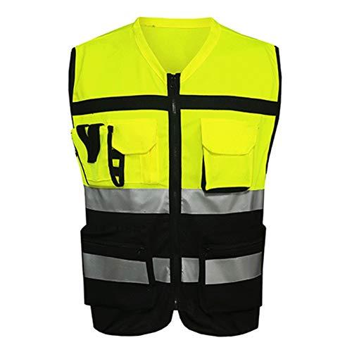 ZJY Chaleco Deportivo Strips Reflectantes Chaleco de Seguridad Jacket de Seguridad Visibilidad de Seguridad Workwea Gilet Traffic Chaleco Ciclismo Chaqueta (Color : Yellow, Size : Large)