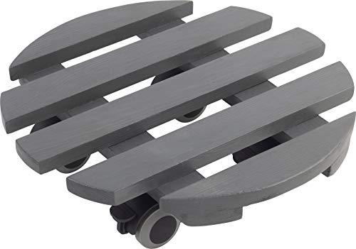 Metafranc Pflanzenroller Ø 300 mm - 60 kg Tragkraft  - Kiefer-Platte - Grau - TPE-Rollen mit 2 Feststellern / Indoorroller / Blumenroller / Transporthilfe für Pflanzen / 825200