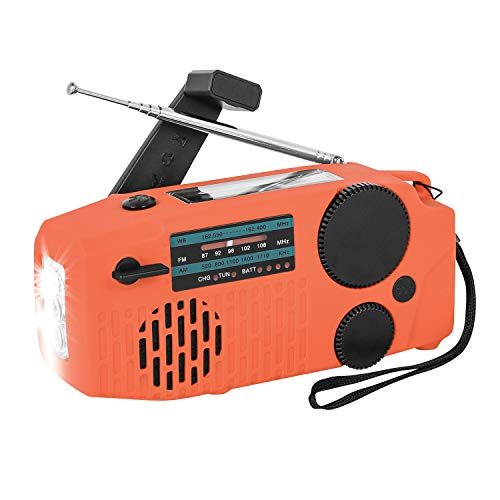 Sanlinkee Emergency Hand Crank Radio, Solar Powerd AM/FM/SW/NOAA Weather Radio, Bulit-in USB 2000mAh Power Bank Phone Charger, SOS Alarm,LED Flashlight, for Household and Outdoor Emergency