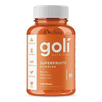 SUPERFRUITS Vitamin Gummy by Goli Nutrition - 60 Count - with Collagen-Enhancing Ingredients Radiate Rejuvenate Refresh  Mixed Fruit Vegan Plant-Based Non-GMO Gluten-Free & Gelatin Free