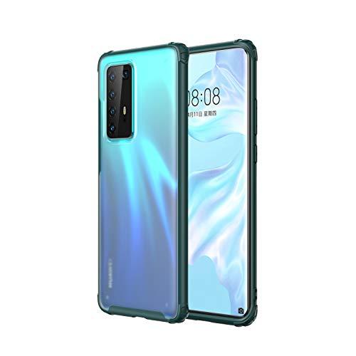 Capa WATACHE Huawei P40 PRO, Capa protetora translúcida para Huawei P40 Slim Fit, TPU macio, Pára-choques rígido para PC, Placa traseira fosca Huawei P40 PRO, Verde preto