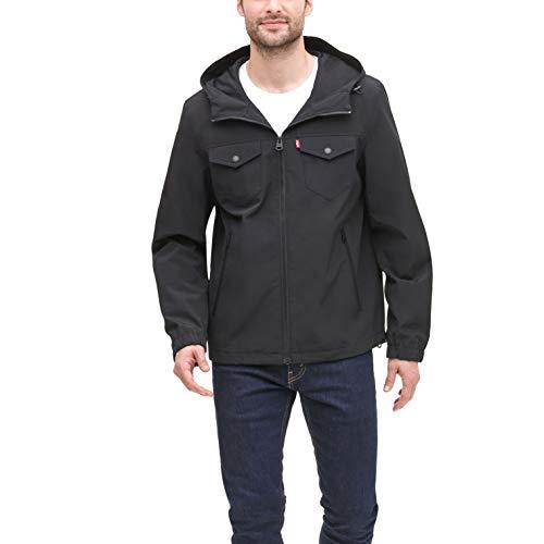 Levi's Men's Four Pocket Hooded Military Rain Jacket, Yellow, Large