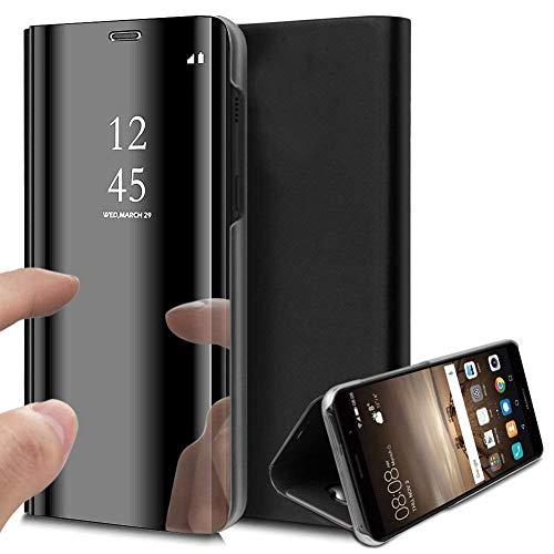 Caler Funda compatible con Samsung Galaxy S6 Edge Plus funda espejo Cover Clear View Crystal Case Carcasa para teléfono móvil funda funda Flip metálico mujer bufanda con bolsillo