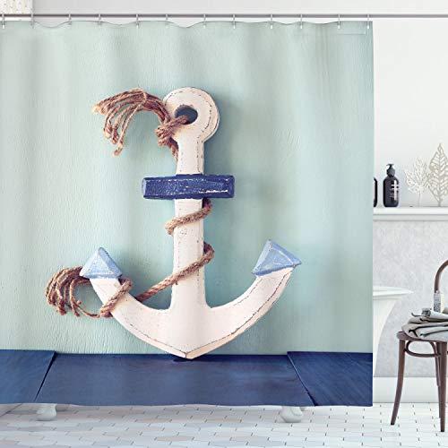 ABAKUHAUS Anker Duschvorhang, Anker & Seil-Motiv, mit 12 Ringe Set Wasserdicht Stielvoll Modern Farbfest & Schimmel Resistent, 175x180 cm, Blau Hellblau & Hellbraun