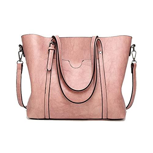 Bolsas de hombro con cera de aceite para mujer, bolso de piel de lujo para mujer, bolso bandolera con bolsillo para dama grande (color: rosa, tamaño: 32 x 12 x 26 cm)