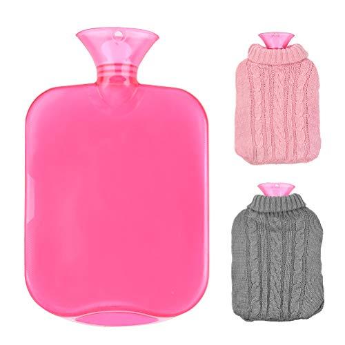 ATPWON Wärmflasche aus PVC waschbar mit 2 Stück Zertifiziert Weicher Plüsch-Bezug Sicher&Langlebig Geprüft Frei Von Schadstoffen Strickabdeckungen 2L Wärmeflaschen
