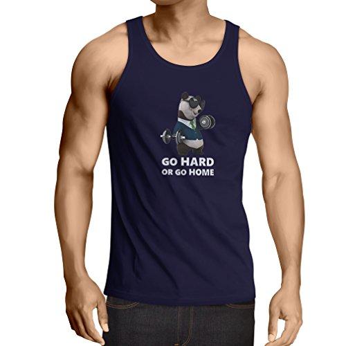 lepni.me Camisetas de Tirantes para Hombre Vuélvete difícil o Vete a casa - Boxeo, Levantamiento de Pesas, Gimnasio, Fitness (X-Large Azul Multicolor)