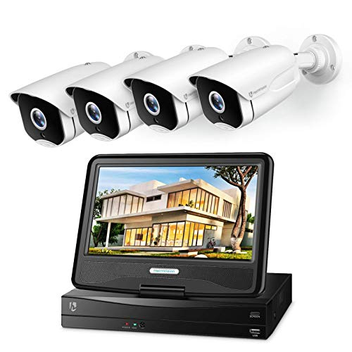 HeimVision 5MP PoE Security Camera System with 10 inch LCD Monitor, 8CH NVR 4Pcs Security Camera Outdoor with Night Vision, Waterproof, Motion Detection, Remote Access, No Hard Drive