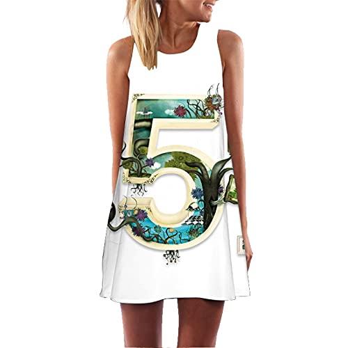 Vestido De Longitud Media con Escote Redondo Y Estampado Digital En 3D para Mujer Vestido De Verano Informal con Estampado Floral Bohemio Vestido De Playa con Túnica Retro L