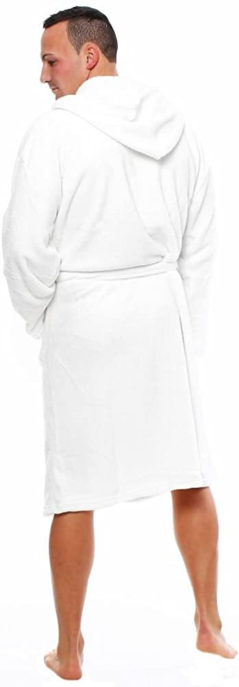 L.E.M.B. Hometrends Herren Damen Bademantel Kingston Microfaser Morgenmantel mit Kapuze Weiß