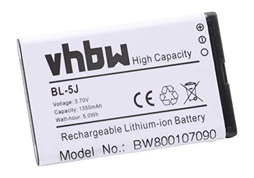 vhbw Li-Ion Akku 1350mAh (3.7V) kompatibel mit Smartphone Handy Handy Doro Primo 365, JBL MD-51W, Play Up, Siemens Gigaset SL930, Telekom Speedphone 701