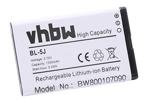 vhbw Li-Ion Akku 1350mAh (3.7V) für Handy Telefon Smartphone Nokia Lumia 520.2, 521, 525, 525.2, 526, 530, 530 Dual SIM wie BL-5J.
