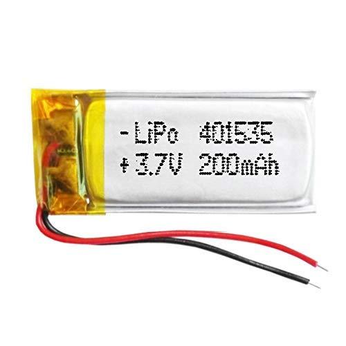 Batería 401535 LiPo 3.7V 200mAh 0.74Wh 1S 5C Liter Energy Battery para Electrónica Recargable teléfono portátil vídeo mp3 mp4 luz led GPS - No Apta para Radio Control (3.7V 200mAh 401535)