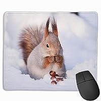 マウスパッド リス 雪 動物 グレー ゲーミング オフィス最適 おしゃれ 疲労低減 滑り止めゴム底 耐久性が良い 防水 かわいい 光学式対応 高級感プレゼン