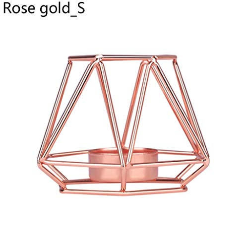 XXG Nordic Style Wrought Iron Geometric Candle Holders Home Decorate Metal Crafts Candlestick Candlestick Holders (Color : A Rose Gold S)
