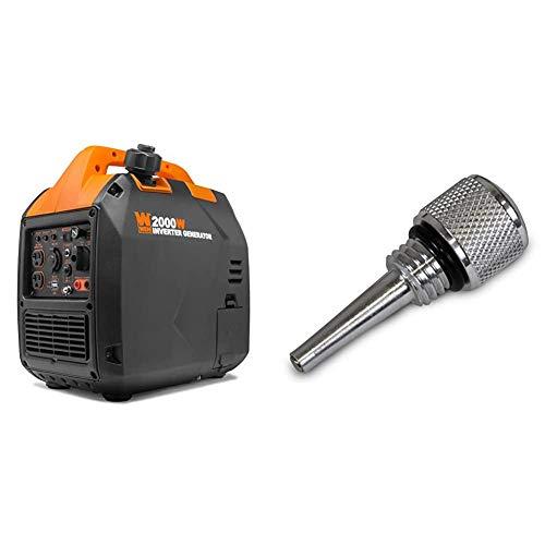 WEN 56203i Super Quiet 2000-Watt Portable Inverter Generator w/Fuel Shut Off, CARB Compliant, Ultra Lightweight & 55201 Magnetic Oil Dipstick for Inverter Generators