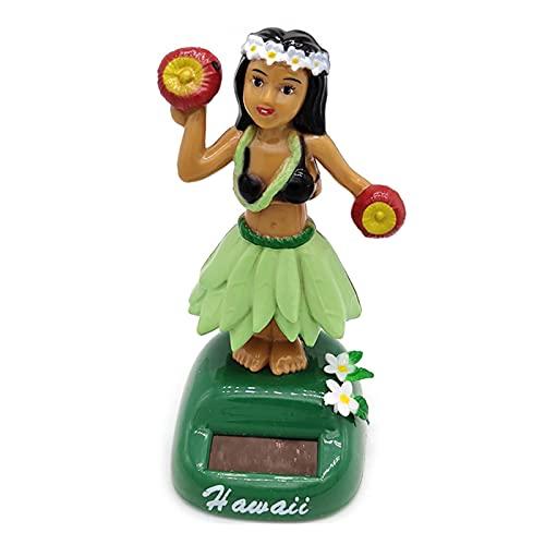 DZAY Solar Hawaii Girl Figure Wackel Hula Mädchen Figur,Solar Auto Dashboard Dekoration,Hawaii Hula Mädchen Wackelfigur Solarfigur Auto Figur Solar Kinder Spielzeug Geschenk Innendekoration (F)