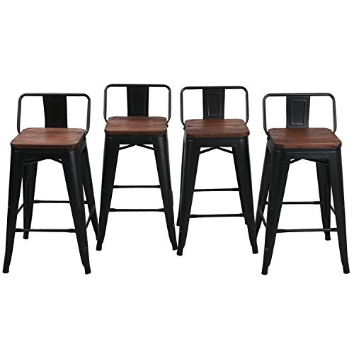 HAOBO 24' Low Back Metal Counter Stool Height Bar Stools with Wooden Seat [Set of 4] Barstools, Matte Black