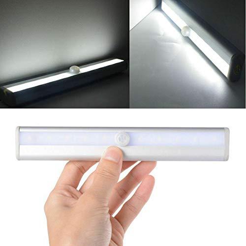 EVERGD - Lámpara de inducción con sensor de movimiento para debajo del gabinete, 10 luces LED, inalámbrica, funciona con pilas, se pega en cualquier lugar, iluminación nocturna magnética