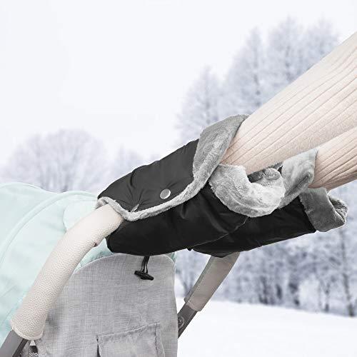 solawill Handwärmer Kinderwagen , Handschuhe Handmuff mit Fleece Innenseite Atmungsaktiv Wasserfest Winddicht Universal Kinderwagen Muff für Kinderwagen Buggy, Radanhänger - Schwarz