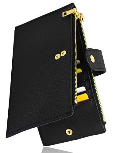 GemRich カードケース メンズ レディース 大容量 薄型 革製 財布 ブラック