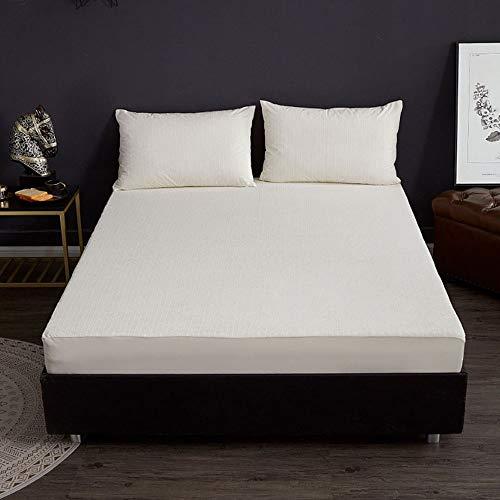ABUKJM Funda de colchón impermeable de rizo de algodón, protector de colchón a rayas, transpirable, sábana bajera ajustable antiácaros (AC06, 150 x 200 x 30 cm)