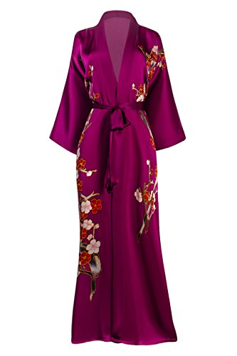 Old Shanghai Women's Silk Kimono Long Robe - Handpainted, Cherry Blossom Fuchsia