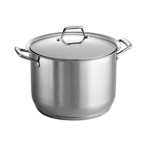 Tramontina Gourmet Prima Acier inoxydable Ready Induction, Impact Bonded, Tri-Ply Base Covered Bâton Pot, 16 quarts Made in Brazil