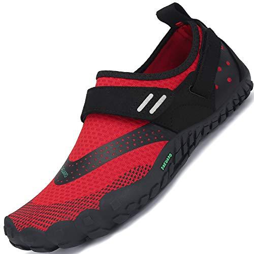 SAGUARO Damen Herren Barfußschuhe Traillaufschuhe Fitnessschuhe mit Weich Dicke Sohle, Schnell Trocknend Badeschuhe Rot A 36