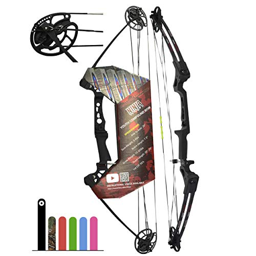 "Southwest Archery Ninja Kids Youth Compound Bow Kit - Fully Adjustable 20-29"" Draw 10-20LB Pull - 55% Let Off - Pre-Installed Arrow Rest - Finger Saver String - RH, Black"