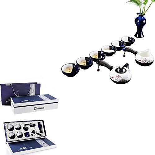 Conjunto Tazas té tetera cerámica porcelana 11 piezas, con caja bolsa portátil, tetera de kung fu china para el hogar regalo Cumpleaños al aire libre,Landscape,11pc