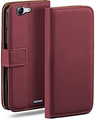 moex Klapphülle kompatibel mit Huawei Ascend G7 Hülle klappbar, Handyhülle mit Kartenfach, 360 Grad Flip Hülle, Vegan Leder Handytasche, Weinrot