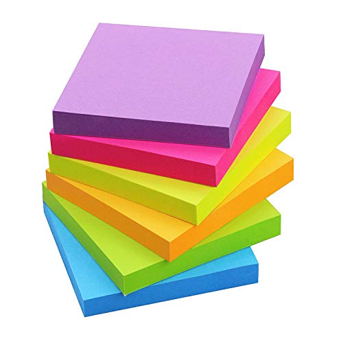Sticky Notes 3x3, 6 Color Bright Colorful Sticky Pad, 6 Pads/Pack, 100 Sheets/Pad, Self-Sticky Note Pads (Yellow, Green, Blue, Orange, Purple, Rose)