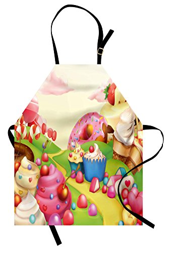 Lunarable Pink Apron, Food Theme Tasty Landscape of Candies Cupcakes Lollipop and Ice Cream Print, Unisex Kitchen Bib with Adjustable Neck for Cooking Gardening, Adult Size, Green Yellow