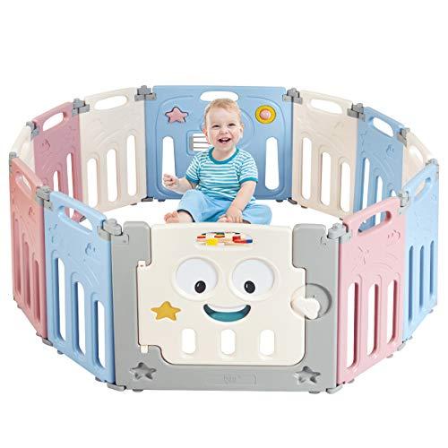 COSTWAY Baby Laufgitter mit Tür und Spielzeugboard, Laufstall aus Kunststoff, Absperrgitter, Krabbelgitter, Schutzgitter für Kinder im Alter von 3 Monaten bis 6 Jahren (Rosa, 12 Paneele)
