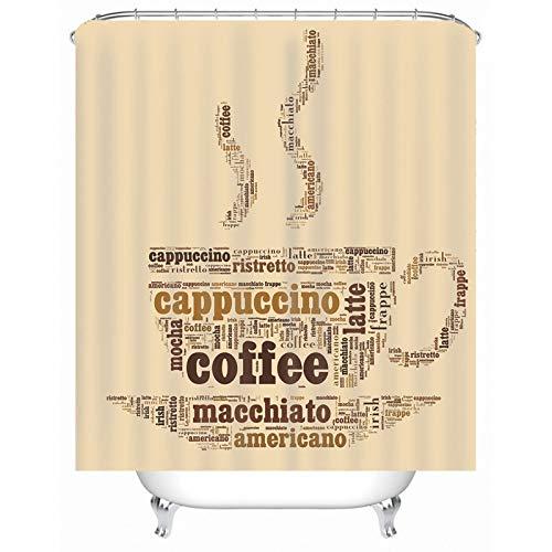 Rubyia Badewannen Duschvorhang, Cappuccino Kaffee Muster 3D Motiv Badezimmer Vorhang mit Duschvorhang Ringe, Polyester, 165 x 180 cm