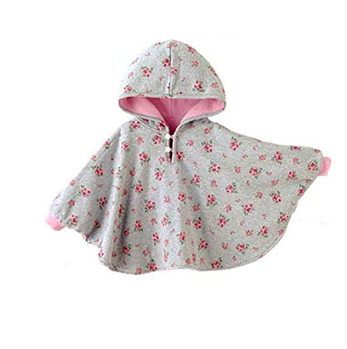 ieasysexyWinter Warm Double-side Wear Hood Cape Poncho Coat for toddler baby Girs Boys, Pink, 1-3 Years