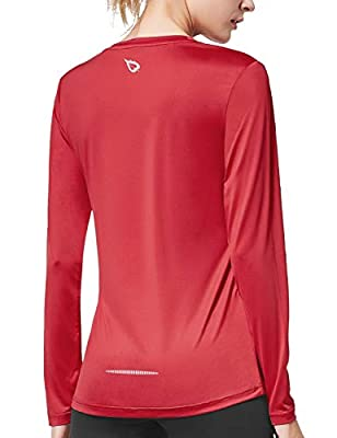 BALEAF Women's Long Sleeve T-Shirt Quick Dry Running Workout Hiking Shirts Red Size XS