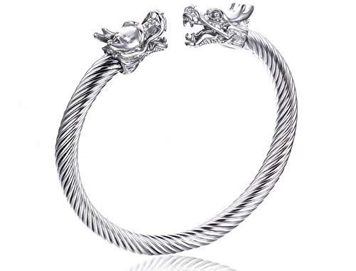 Pulseira Bracelete Cabeça de Dragão Aço Inoxidável Prata Masculino