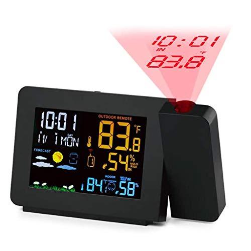 WQTT Projectie Wekker Atoomklok, Kleur Draadloze Weersvoorspelling Weerstation Binnen- / Buitentemperatuur, Vochtigheidsmonitor