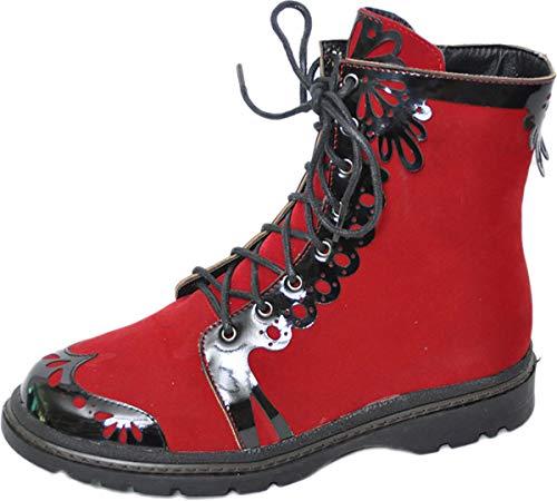 inamagura Damen Schuhe Samt Budapester Boot Schnürstiefel Rot Stiefel 36