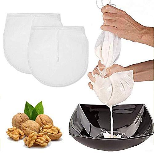 2 Pezzi Sacchetto Filtrante Borsa Latte Vegetale Sacchetto Filtro per Latte di Mandorle Sacca Multiuso Filtrante Riutilizzabile Colino per Latte di Noci,Frutta Secca Nylon Filtro Alimenti (30cmx30cm)