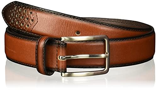Stacy Adams Men's 32mm Burnished Leather Belt, 36, Cognac