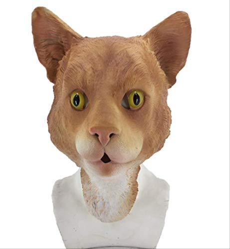 Schwarze Weiße Ingwer-Katzen-Maske,Erwachsene Tiermaske,Für Kätzchen-Kleidungs-Gummi Und Pelz-Halloween-Cosplay,Unisex