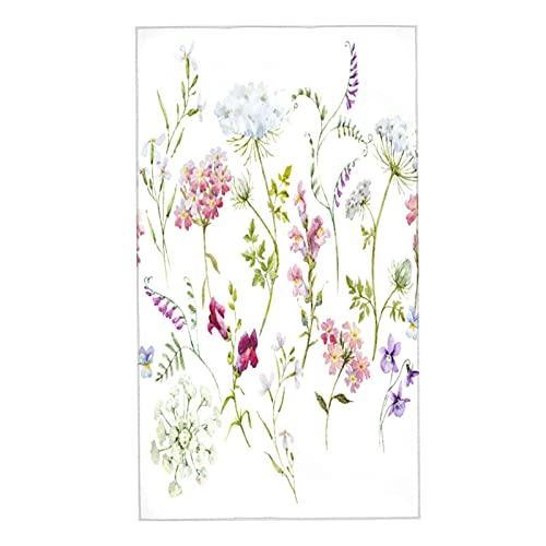 NINEHASA 2 Toallas,Patrón Floral de la Acuarela Delicada Flor Silvestre Rosada Tansy Pensamientos White Queen Anne 's Retro Encaje,Toalla Microfibra Ultra Suaves y Absorebentes 40x70cm