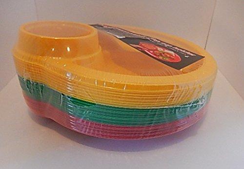 カップホルダー付きプラスチック 使い捨てプレート 3つの仕切り付き 24枚セット(直径25.9cm)