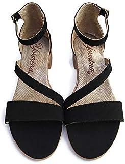 Sandalia de Tacón Bajo Cuadrado y Ancho 4 cm, cruzado para mujer