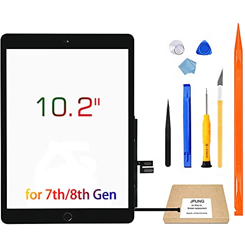 JPUNG Touch Screen Replacement for iPad 7th Generation 8th Generation Digitizer 10.2', Only for 7th 8th Gen A2197 A2198 A2200,A2270, A2428, A2429, A2430 with Home Button & Tool Repair Kit